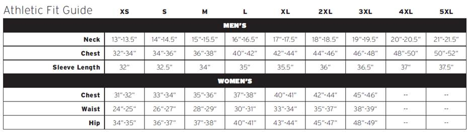 WTOL River Run apparel sizing guide - athletic fit tech shirts